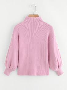 Lantern Sleeve Pearl Detail Ribbed Sweater