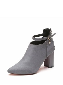 Block Heeled Back Zipper Ankle Boots