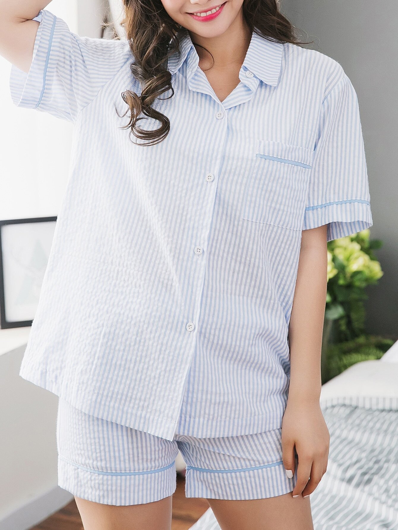 Contrast Stripe Shirt & Shorts Pajama Set