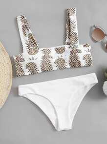 Pineapple Print Seam Detail Bikini Set