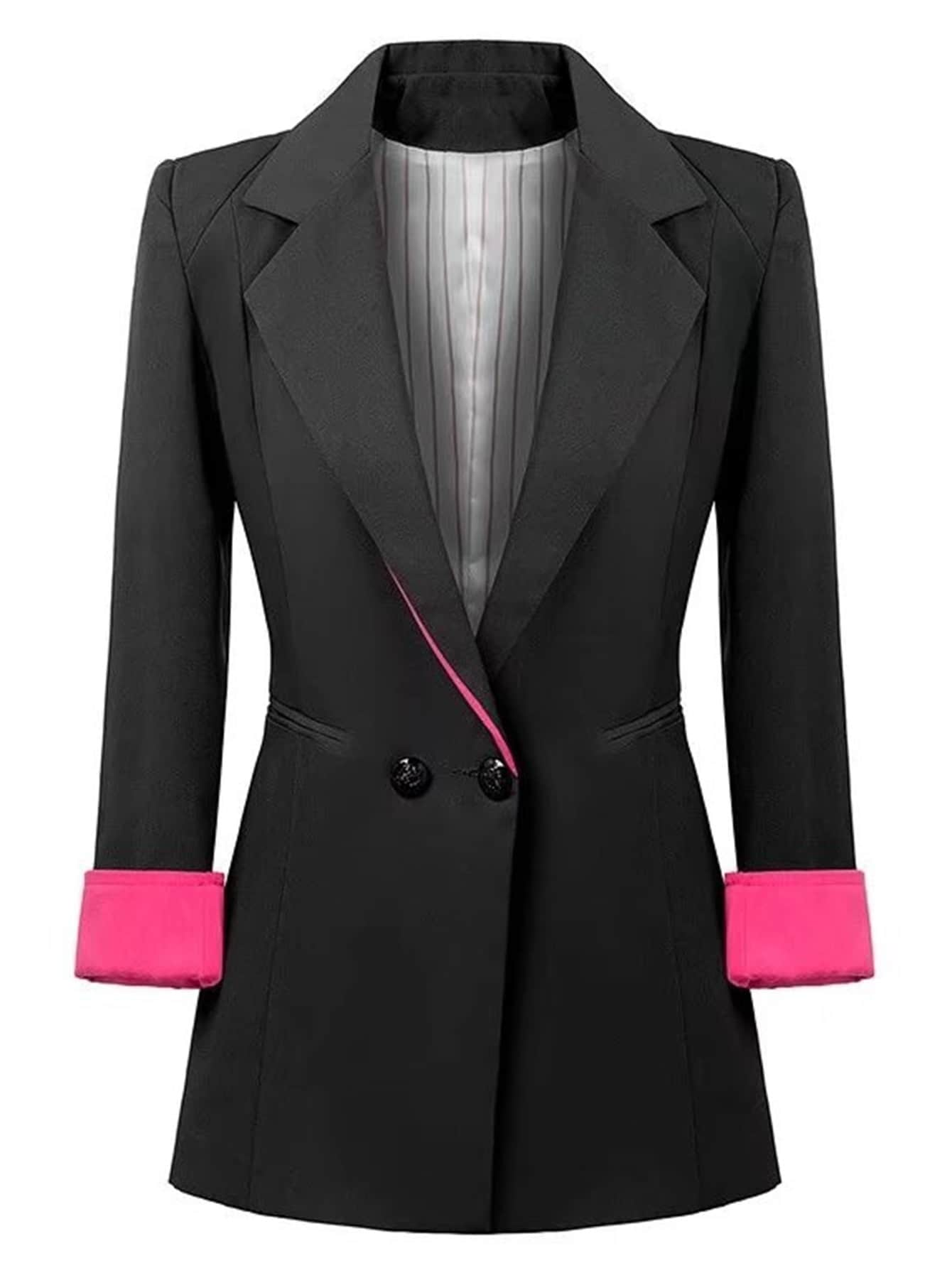 Contrast Cuff Fitted Blazer contrast cuff fitted blazer