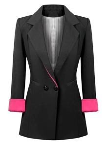 Contrast Cuff Fitted Blazer