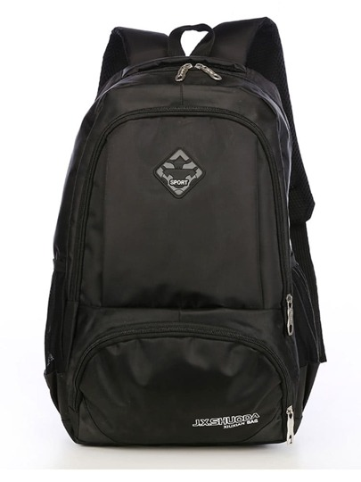 Pocket Front Patch Detail Nylon Backpack