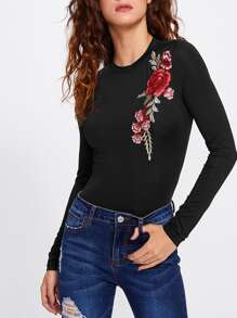 Embroidered Rose Patch Bodysuit