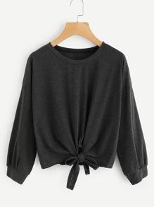 T-Shirt mit sehr tief angesetzter Schulterpartie und Band vorn