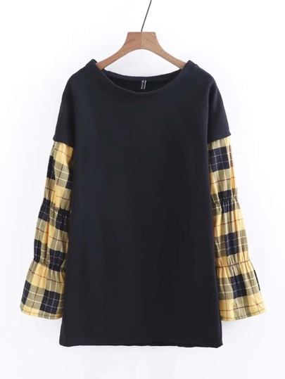 Contrast Plaid Sleeve Longline Sweatshirt