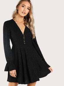 Button Accent Gold Dot Dress BLACK GOLD