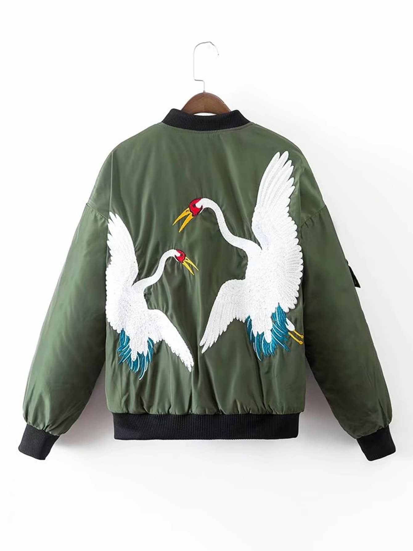 Crane Embroidery Quilted Bomber Jacket