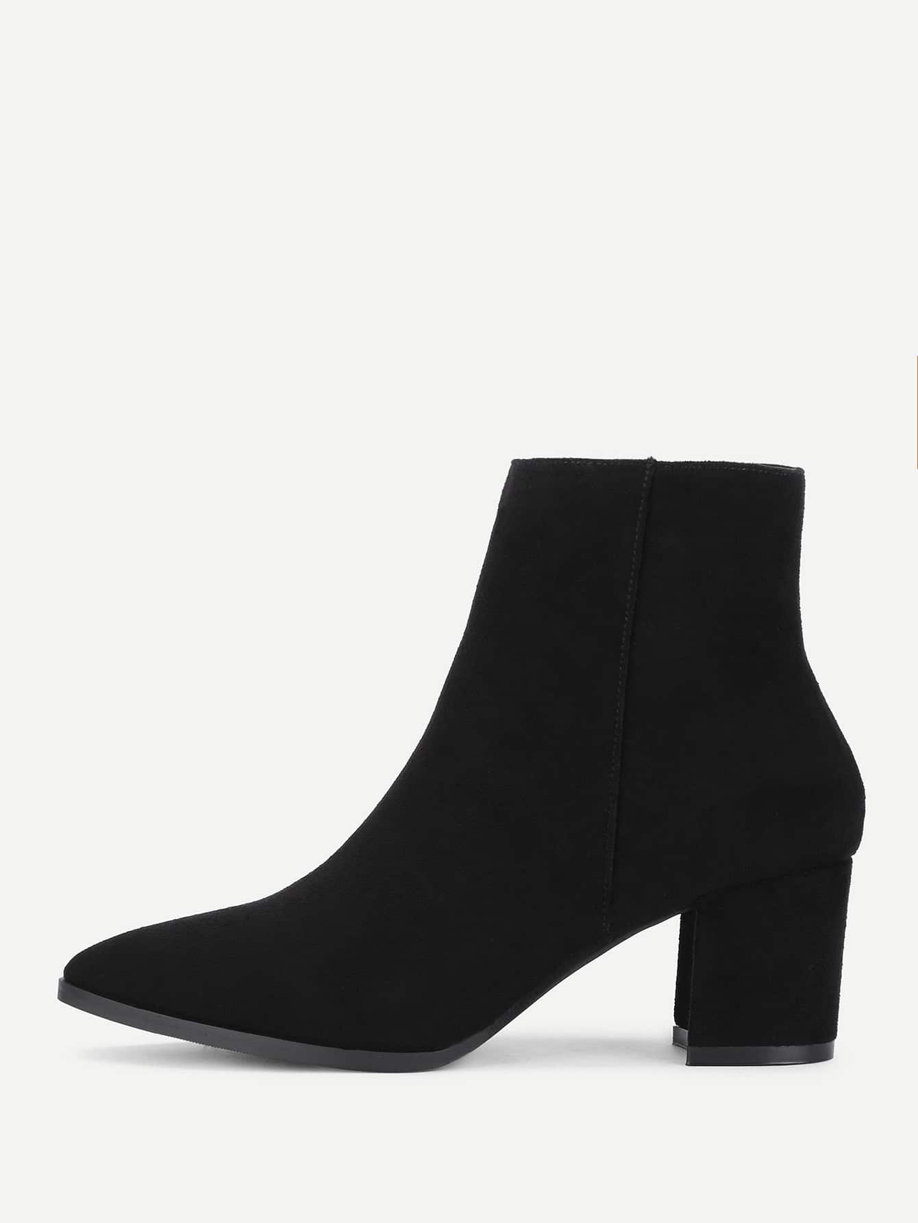 Image of Almond Toe Block Heeled Suede Ankle Boots