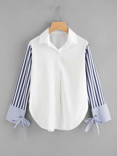Contrast Striped Sleeve Tie Detail Curved Hem Shirt