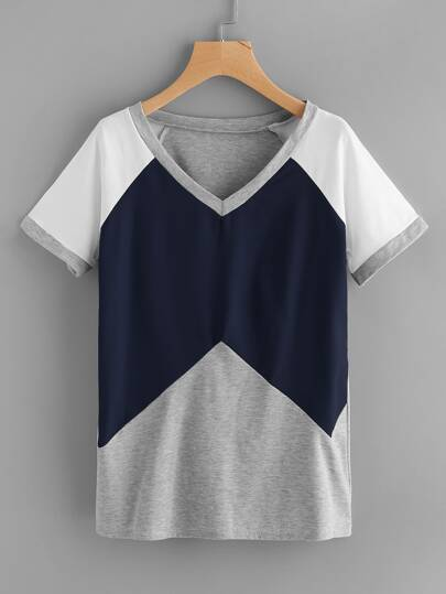 Cut And Sew Contrast Raglan Sleeve Tee