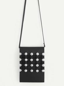 Studded Front Flap Crossbody Bag