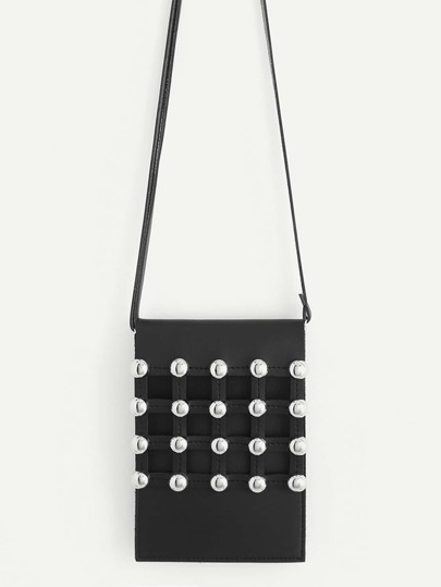 Studded Front Flap Crossbody Bag