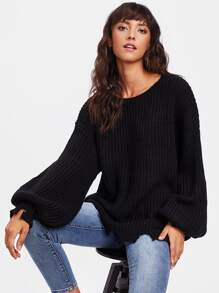 Raw Cut Puff Sleeve Jumper