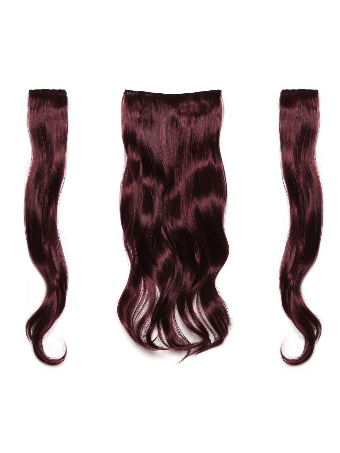 Купить Бордовые искусственные волосы с заколкой 3 шт., null, SheIn