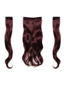 Black & Burgundy Clip In Soft Wave Hair Extension 3pcs