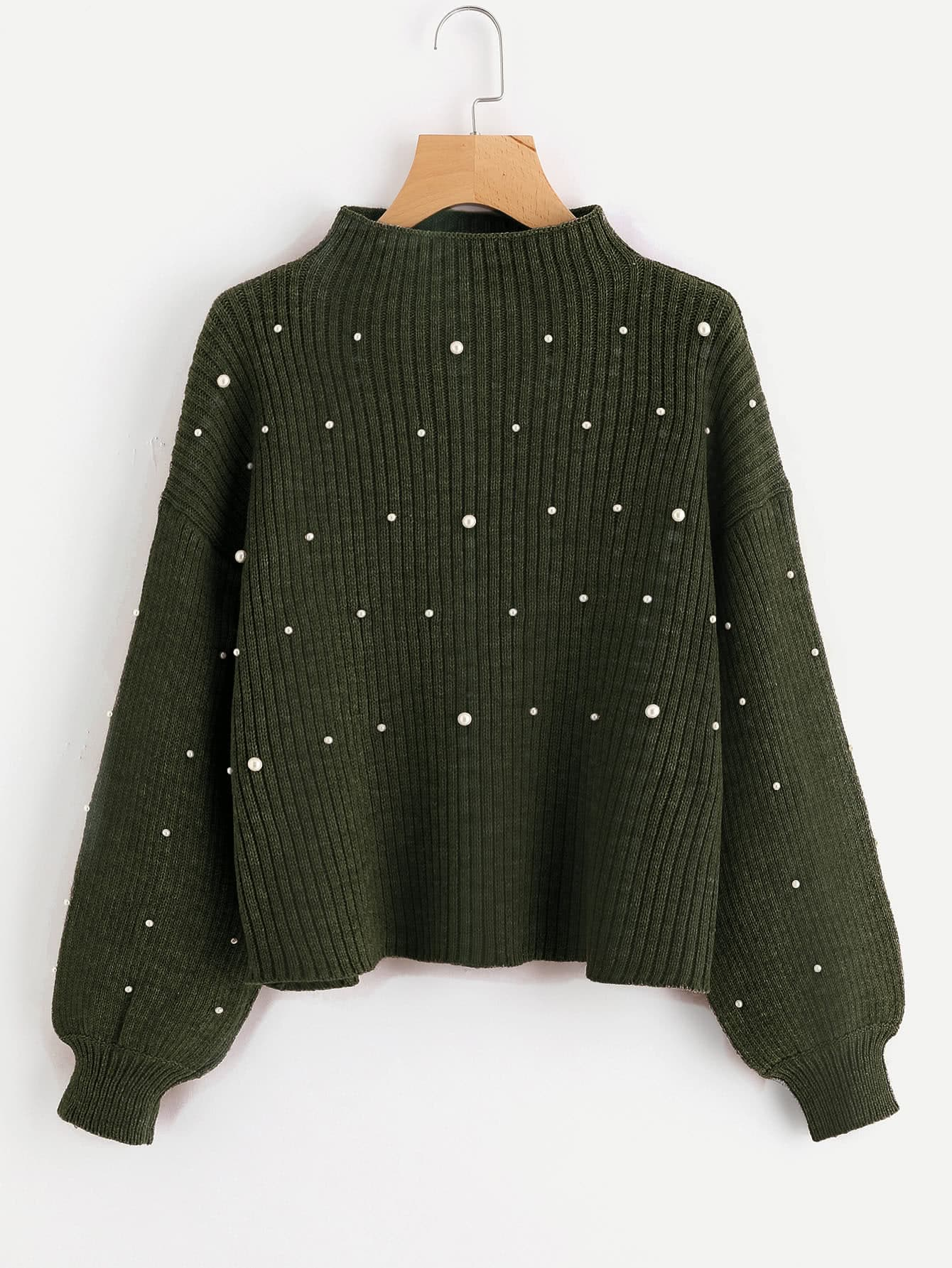 Pearl Embellished Exaggerated Bishop Sleeve Ribbed Sweater pearl detail layered bell sleeve ribbed top