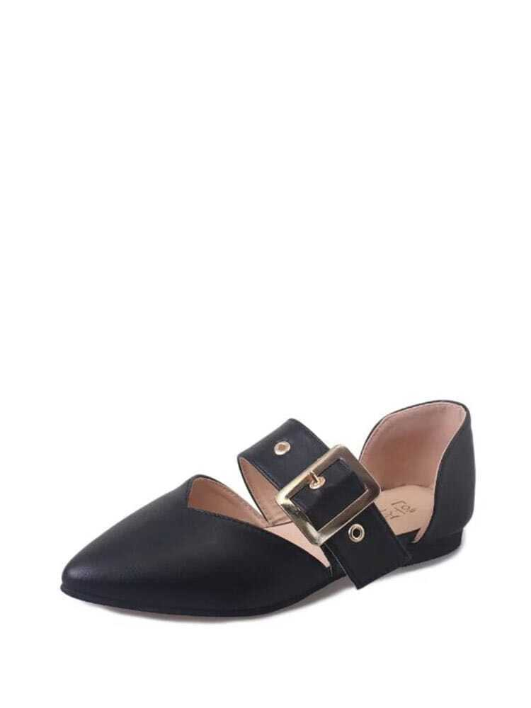 Buckle Detail Point Toe PU Flats