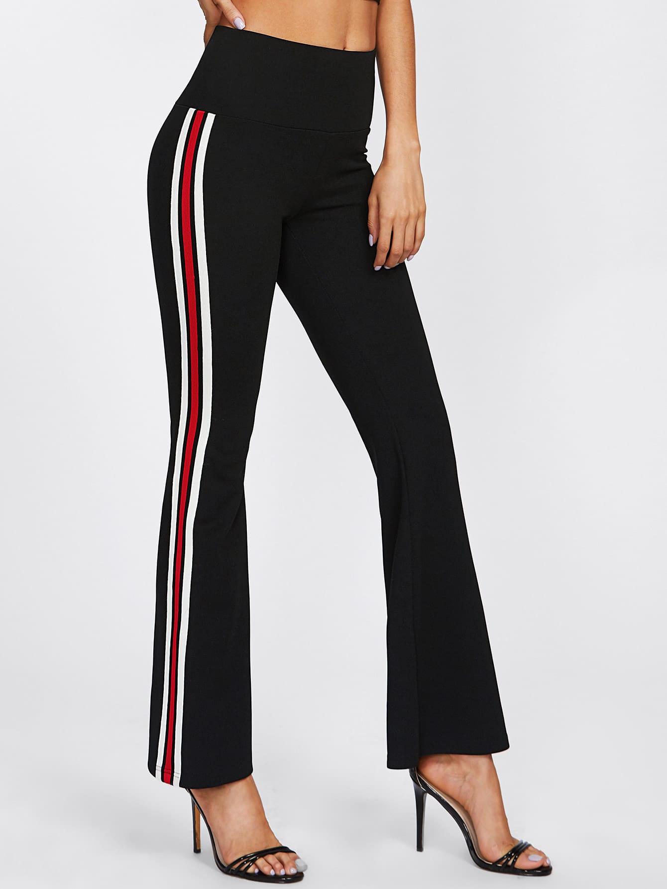 Wide Waistband Striped Sideseam Flared Pants zip back flared pants
