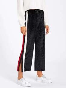 Tape Detail Slit Side Velvet Wide Pants