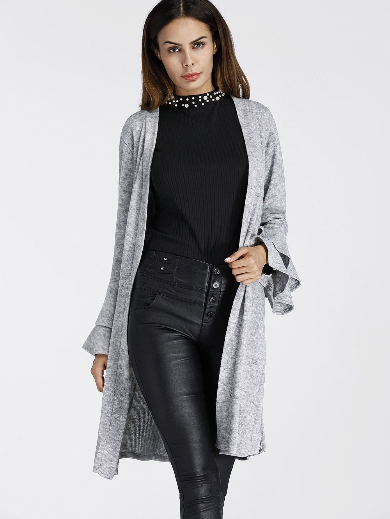Tiered Frill Sleeve Marled Knit Cardigan