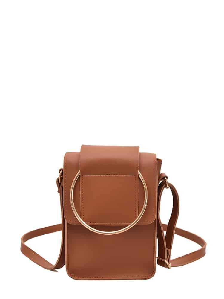 Ring Design Flap PU Shoulder Bag ring front flap shoulder bag
