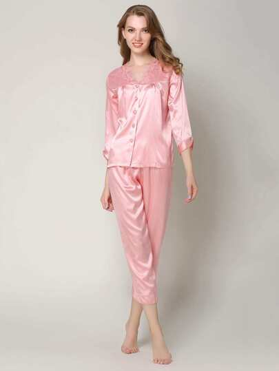 Embroidered Lace Trim Satin Pj Set