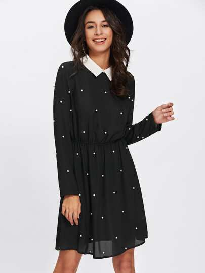 Contrast Collar Pearl Embellished Dress