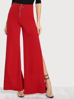 O Ring Zipper Front Side Slit Pants RED