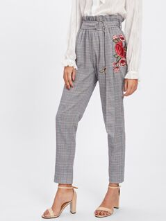 Rose Patch Plaid Peg Pants With O-Ring Belt
