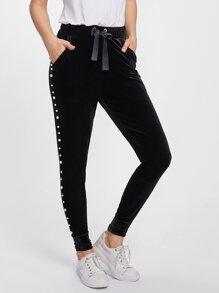 Pearl Beaded Side Grommet Velvet Sweatpants