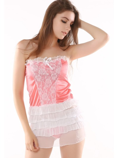 Lace Insert Tiered Sleep Dress