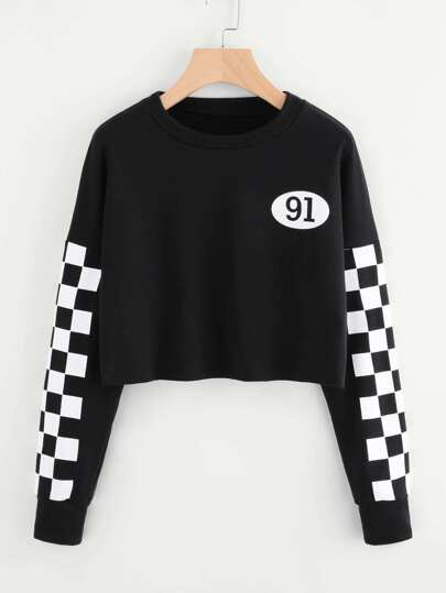 Checked Sleeve Number Print Sweatshirt