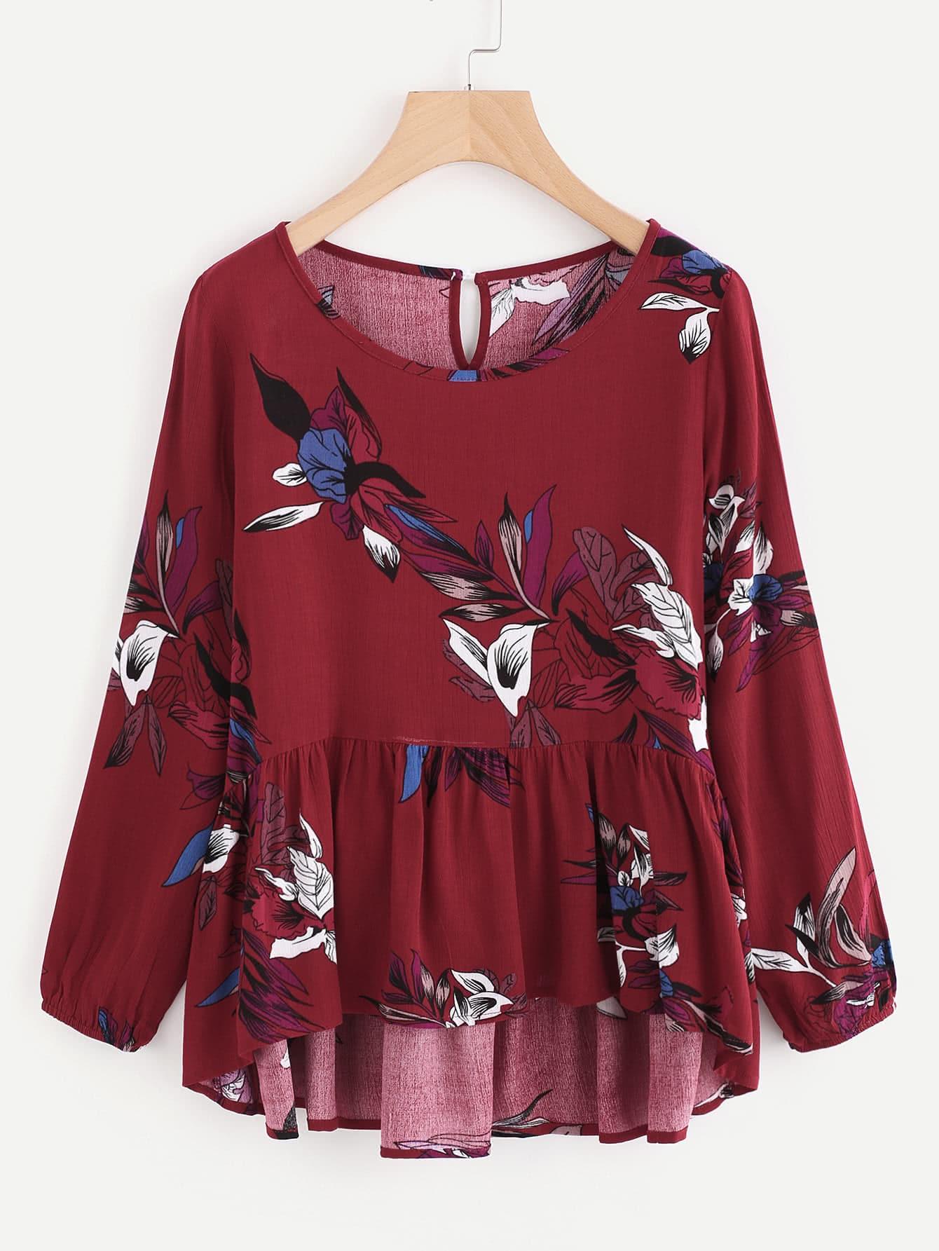 Купить Модная блуза с принтом и оборкой, null, SheIn