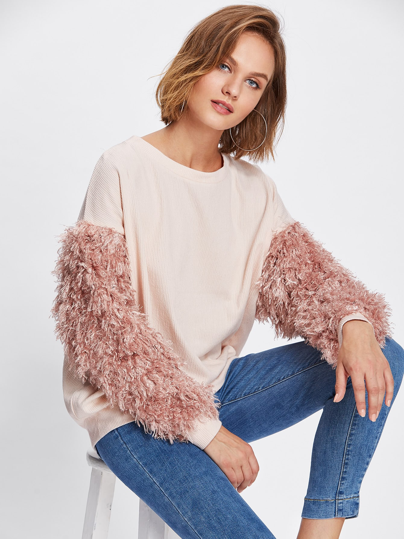 Contrast Faux Fur Sleeve Ribbed Knit Sweatshirt pearl beading faux fur pocket ribbed dress
