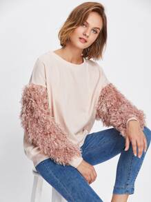 Contrast Faux Fur Sleeve Ribbed Knit Sweatshirt
