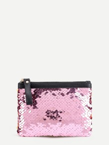 Zipper Up Sequin Wallet