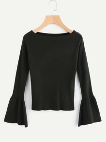 Fluted Sleeve Ribbed Sweater