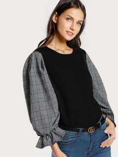 Plaid Frilled Gigot Sleeve Top