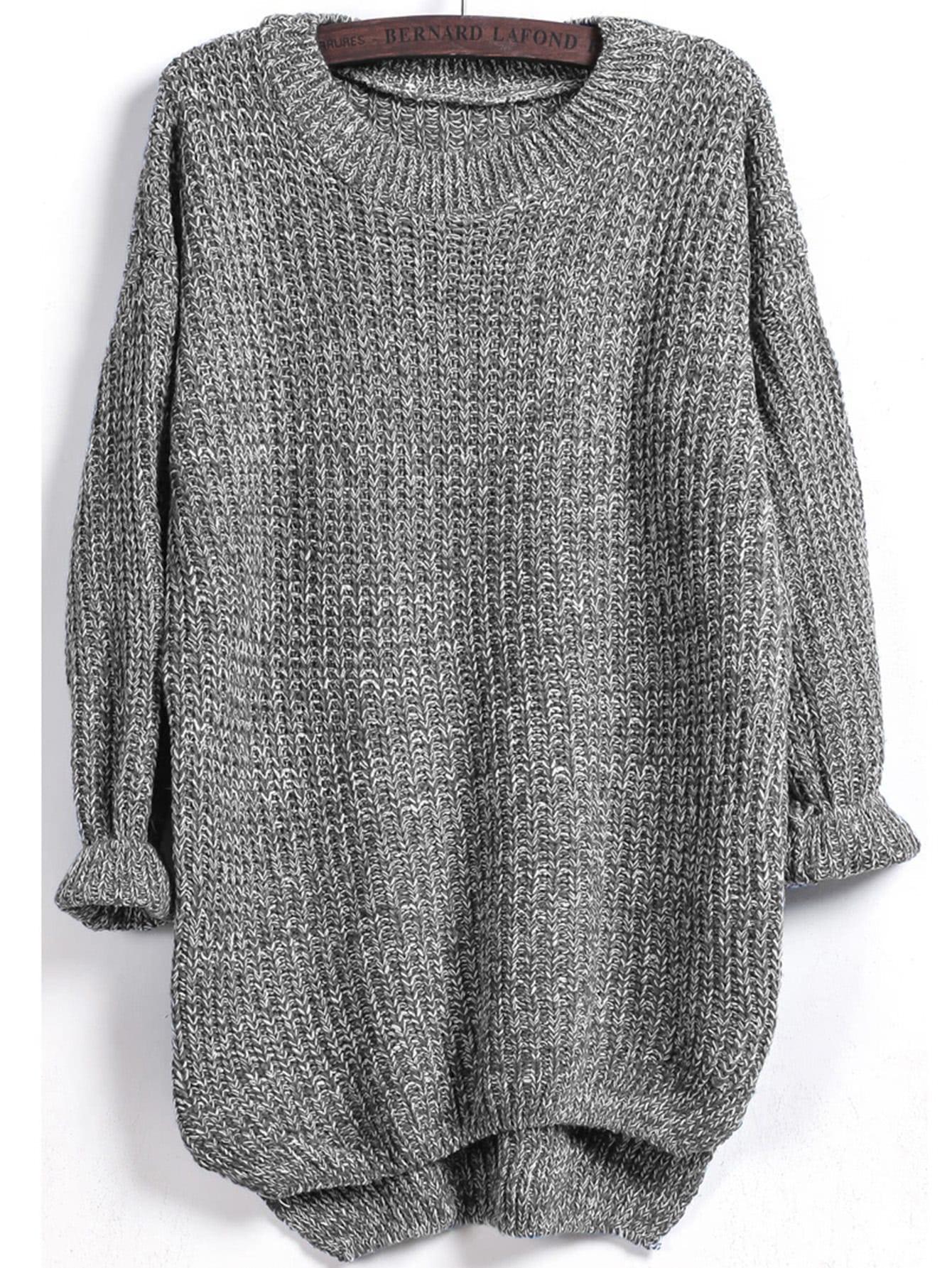 Dip Hem Marled Knit Jumper two tone marled knit jumper