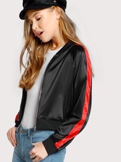 Satin Side Striped Jacket BLACK