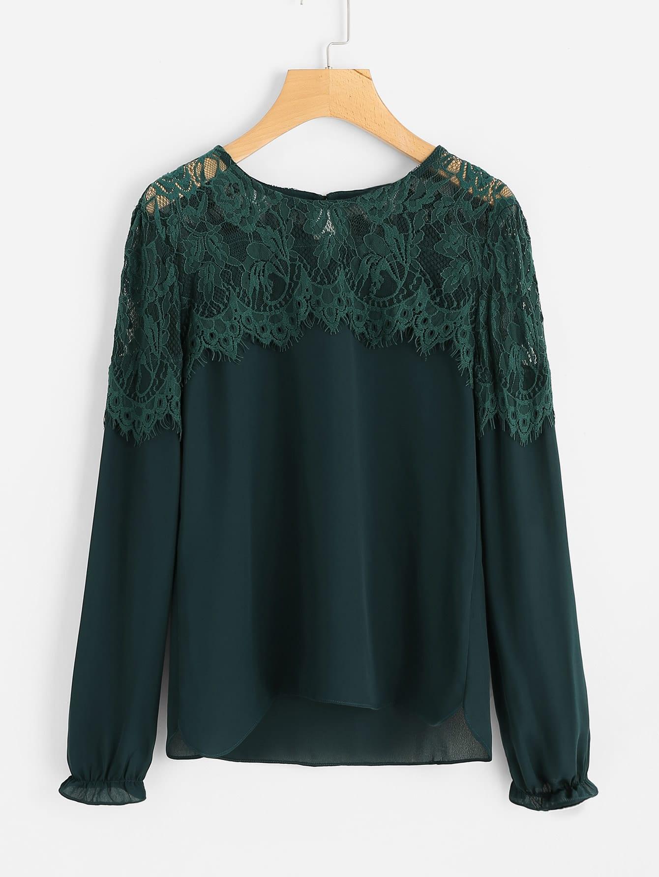 Contrast Lace Yoke Keyhole Back Blouse lace panel yoke sweatshirt