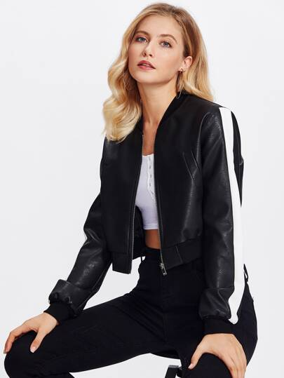 Striped Sleeve Crop PU Bomber Jacket