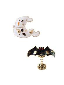 Ensemble de broche design de fantôme et chauve-souris 2 pièces