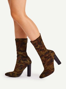 Camouflage Print Wide Fit High Heeled Boots