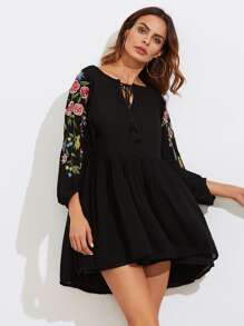 Flower Embroidery Tassel Tie Babydoll Dress