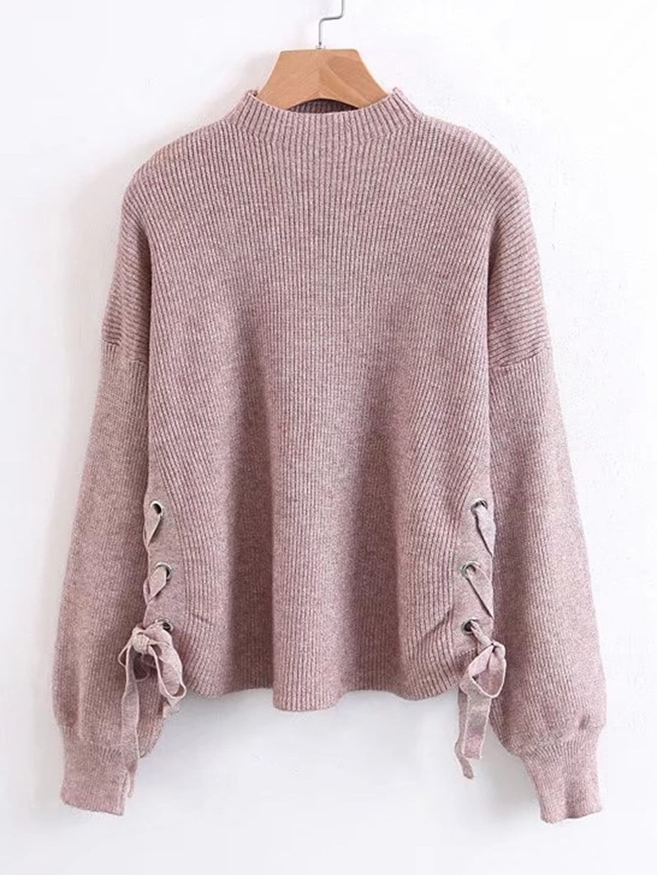 Lace Up Side Ribbed Knit Sweater sweater171012204