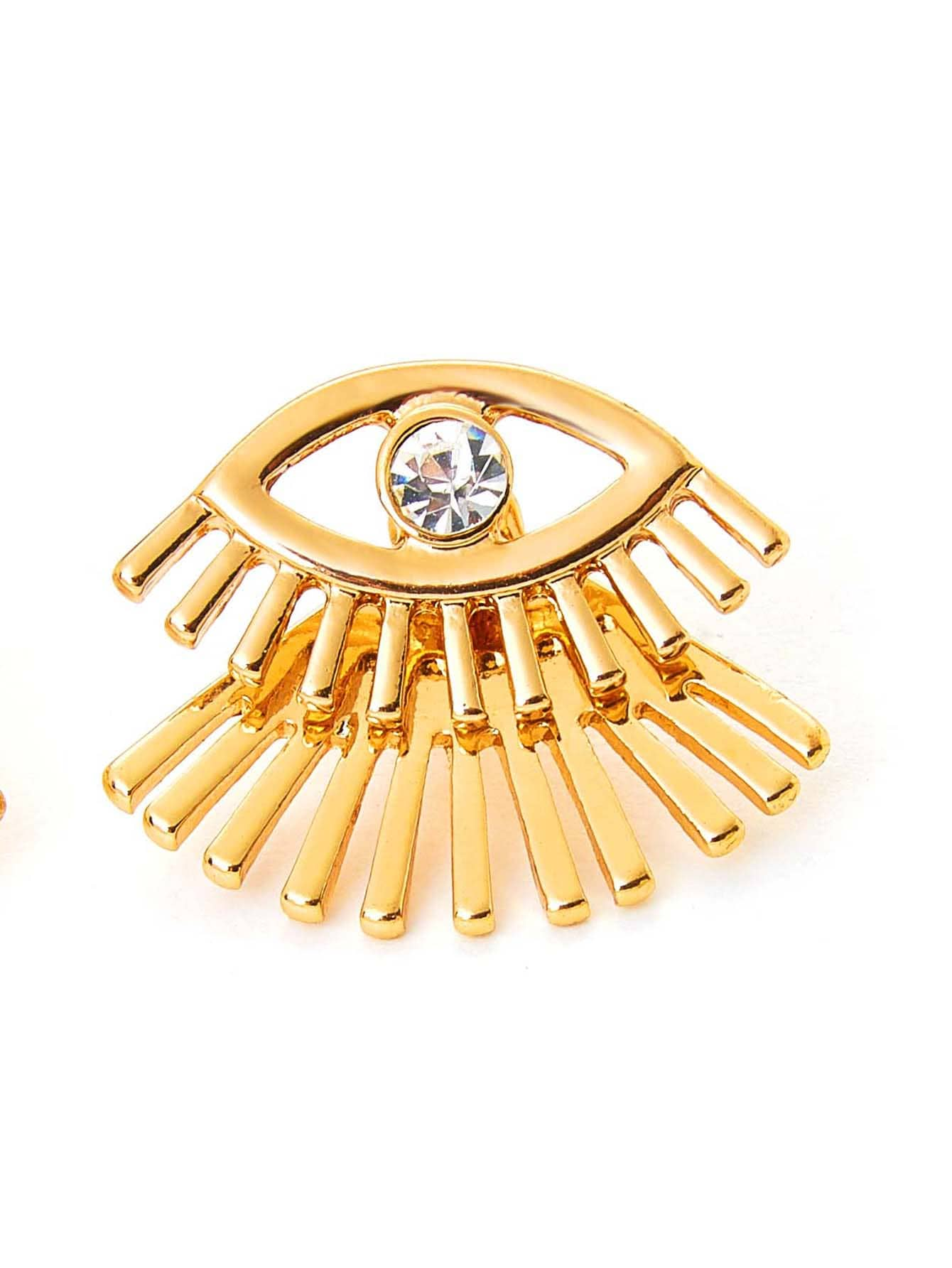 Eyelashes Stud Earrings With Rhinestone