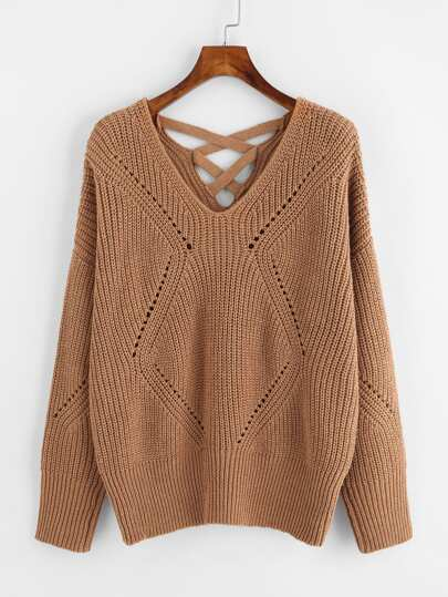 Crisscross Back Eyelet Detail Jumper