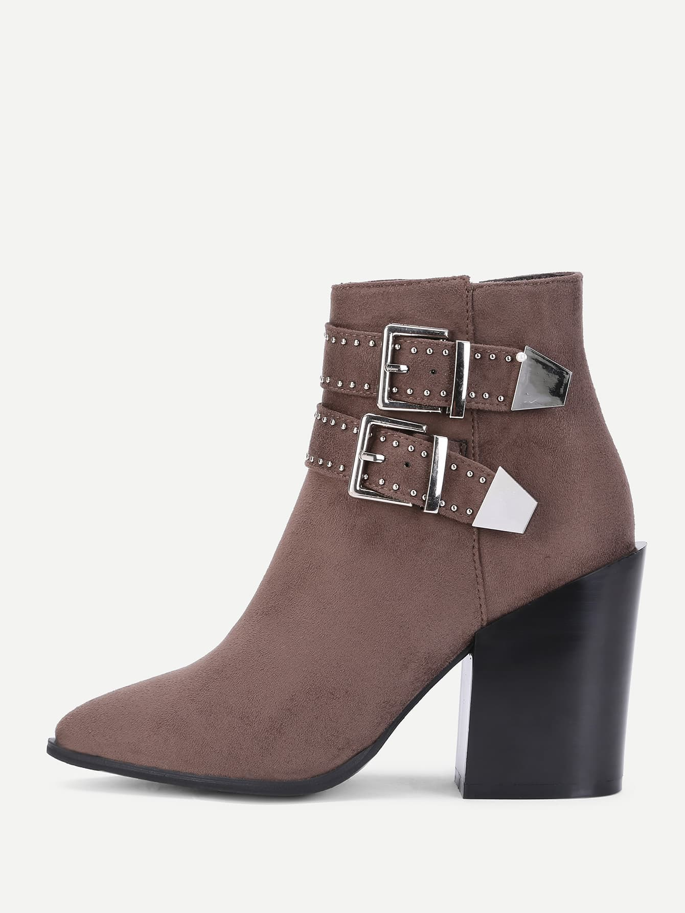 Double Buckle Pointed Toe Boots double buckle cross straps mid calf boots